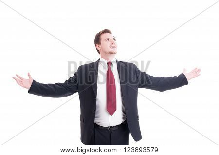 Businessman, Accountant Or Financial Manager With Arms Outspread