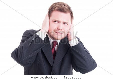 Businessman, Accountant Or Financial Manager Covering Ears