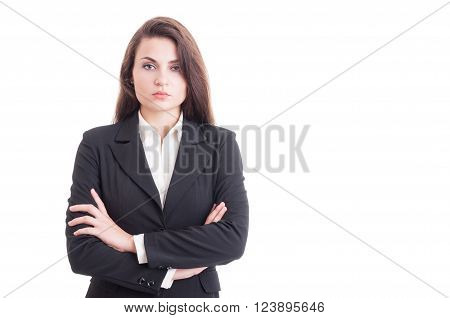 Confident Business Woman With Arms Crossed On White Copy Space
