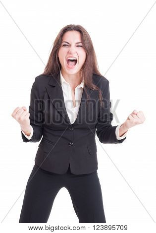 Angry Mad Business Woman Yelling And Shouting Crazy Showing Rage