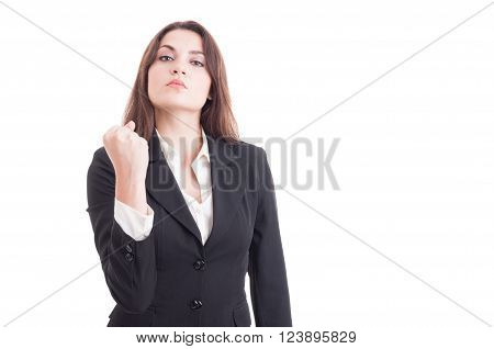Bossy Business Woman Showing Fist