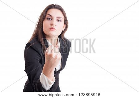 Aggressive Business Woman, Leader Or Bossy Manager Showing Fist