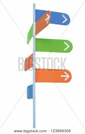 Sign post with white arrows on multi-colored backgrounds (with empty space for your text) isolated on white