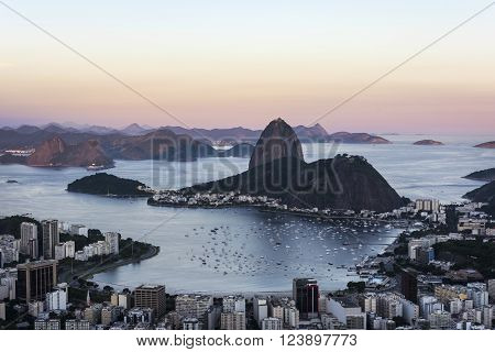 Sugar Loaf and Guanabara Bay in the evening sun light, Rio de Janeiro, Brazil. ** Note: Visible grain at 100%, best at smaller sizes