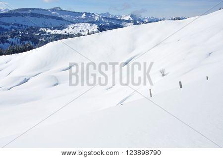 Uitzicht over een landschap in de sneeuw