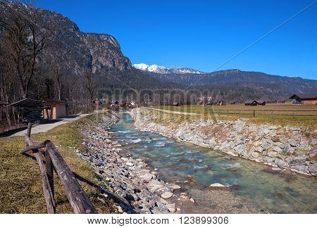 Loisach River In Rural Bavarian Landscape, Garmisch-partenkirchen