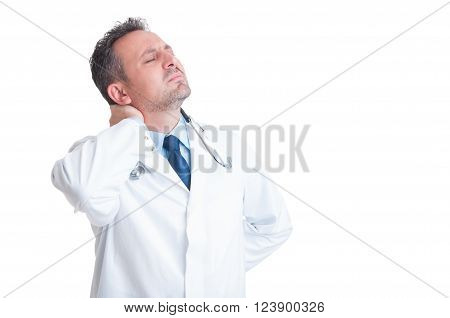 Doctor Or Medic Suffering Of Back Neck Pain