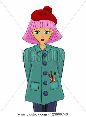 artist girl with pink hair in a red beret and green coat. sketch