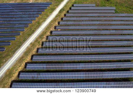Solar farm, solar panels, photography from the air