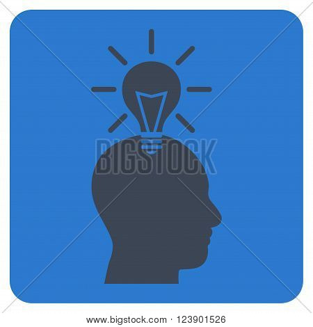 Genius Bulb vector icon symbol. Image style is bicolor flat genius bulb iconic symbol drawn on a rounded square with smooth blue colors.