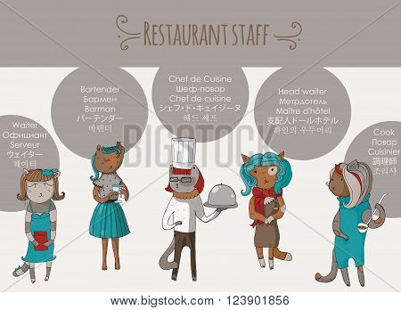 Set of beautiful cat female restaurant stuff characters hand-drawn. Vector illustration with isolated on white anthropomorphous animals with profession names in different languages.