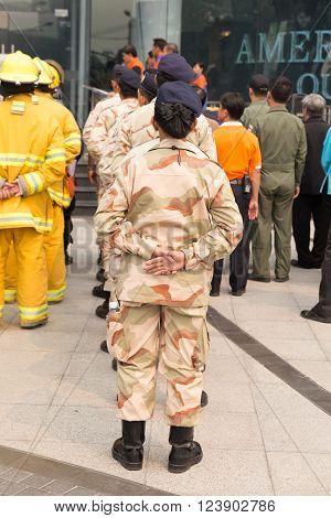 People In Mock Disaster Drill