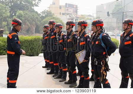 CHIANG MAI, THAILAND - MARCH 25:Paramedic in mock disaster drill at Maya shopping center in Chiang Mai, Thailand on March 25, 2016.