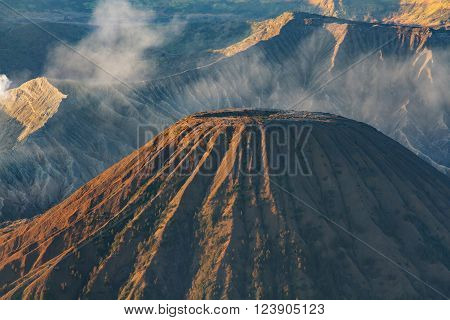 Mount Bromo volcano during sunrise, the magnificent view of Mt. Bromo located in Bromo Tengger Semeru National Park, East Java, Indonesia. ** Note: Visible grain at 100%, best at smaller sizes
