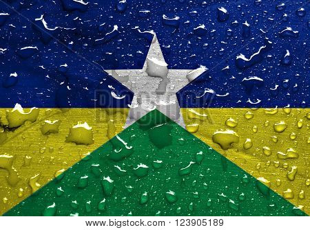 State of Rondonia flag with rain drops