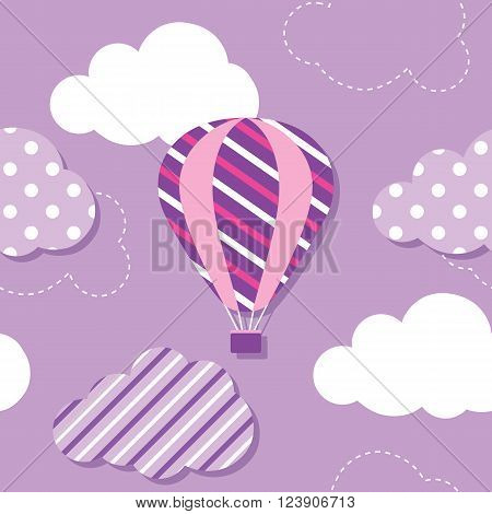 illustration of colorful hot air balloon and patterned clouds on purple background