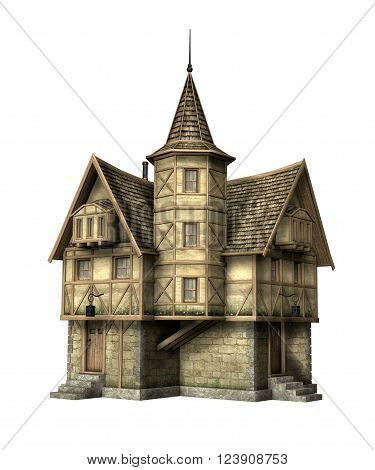 3D illustration of a fantasy tavern isolated on white.