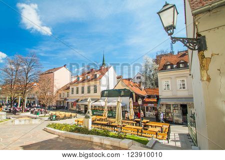 Zagreb, Croatia-March 31th, 2016,: Old Tkalciceva street in Zagreb, capital of Croatia. Tkalciceva is prominent tourist location in Zagreb with cafes, bars and restaurants.