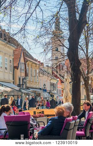 Zagreb, Croatia-March 31th, 2016,:: Old Tkalciceva street in Zagreb, capital of Croatia. Tkalciceva is prominent tourist location in Zagreb with cafes, bars and restaurants.