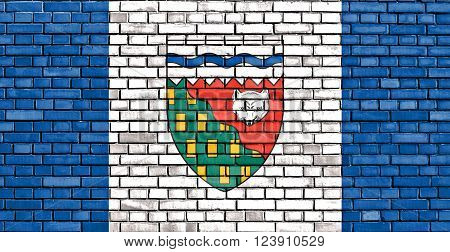 flag of Northwest Territories painted on brick wall