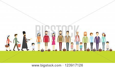 People Group Stand In Line, Priest Blessing Easter Basket, Consecrate Cakes, Eggs Happy Holiday Banner Flat Vector Illustration
