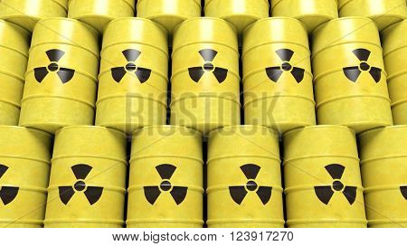 Stacks of yellow barrels for radioactive biohazard waste, 3d rendering