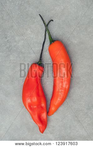 Pair of aji amarillo hot chili peppers on stone background from above
