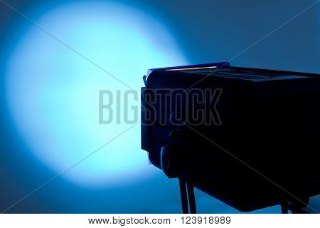 The Blue lightspot for stage with copyspace