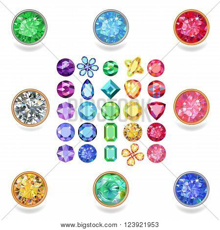 Popular colored gems cuts set gradation by color of the rainbow isolated on white background vector illustration