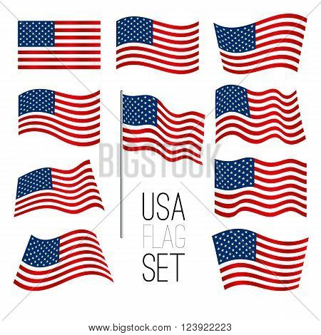 Independence day background. Set of United States flag. USA flag. American symbol