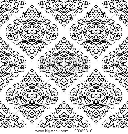 Oriental floral ornament with damask. Templates for carpet textile wallpaper bedcover and any surface. Seamless vector pattern of black contours on a white background.