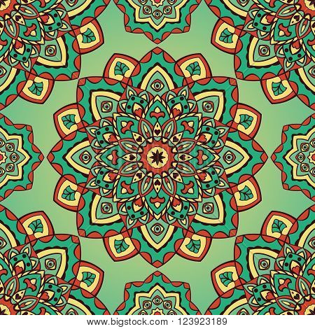 Vector seamless pattern of mandalas. Oriental vintage ornament. Template for textiles wallpaper shawls carpets pillowcase bedding wrapping paper.