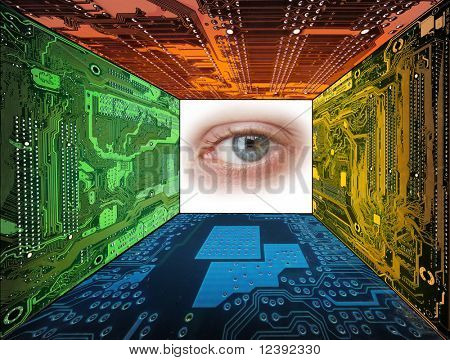 human eye framed by  computer circuit boards