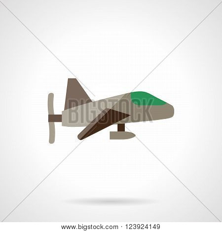 Gray with green elements airplane with front propeller. Aircraft vehicles. Toy airplane. UAV.  Flat color style vector icon. Web design element for site, mobile and business.