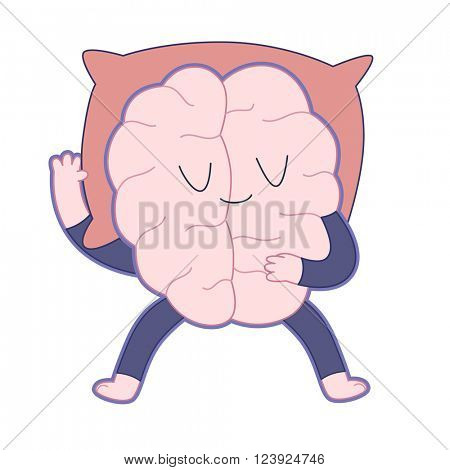 Sleeping brain flat cartoon vector illustration - a brain wearing a pajama sleeping sprawl out on a red pillow. Part of a Brain collection.