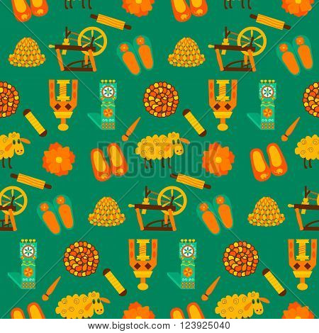 Green wool knit seamless pattern. Vector illustration of felted goods and Felting.
