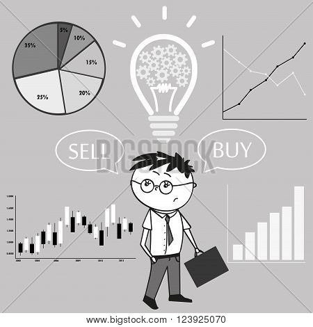 Businessman and graphs and charts. The idea of the concept of buying and selling. Vector Illustration