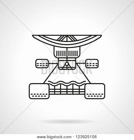 A part of truck and suspension of longboard. Longboarding repair services. Activity lifestyle and sports hobby. Flat line style vector icon. Single design element for website, business.