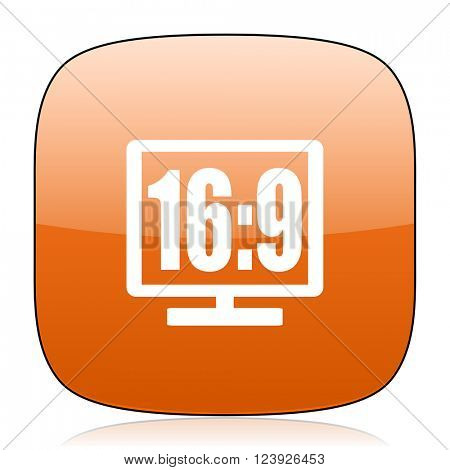 16 9 display orange square glossy web icon