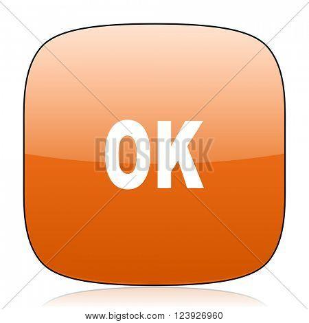 ok orange square glossy web icon