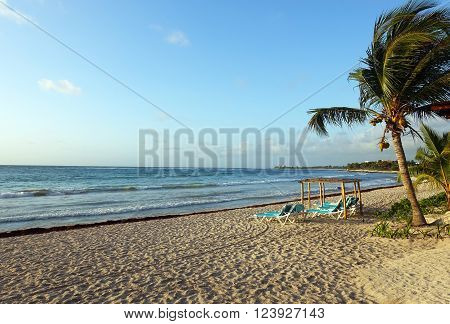 Picture of a resort beach at Mayan Rivera in Mexico. ** Note: Visible grain at 100%, best at smaller sizes