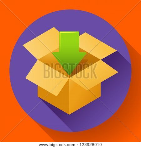 Flat pack icon on round color background. Shipping icon for internet store. Flat design style.