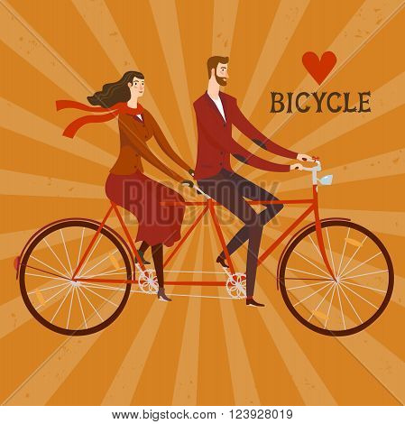 Elegant man cyclist and lady cyclist on vintage tandem bicycle. Colorful editable vector illustration with retro background for your design.