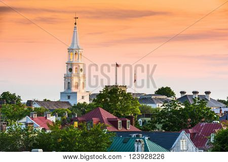 Charleston, South Carolina, USA rooftops and church steeple.
