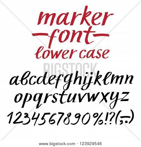 Hand drawn textured vector ABC letters and figures set. Marker style alphabet. Lower case. Artistic font for your design.