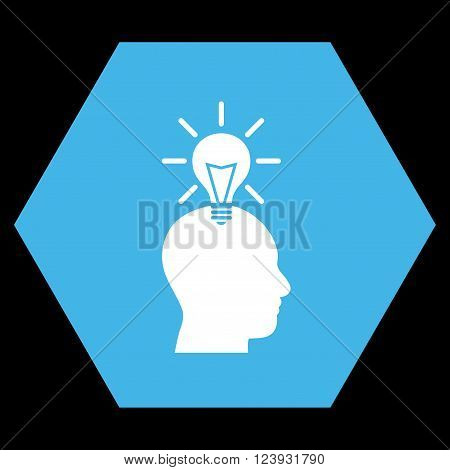 Genius Bulb vector icon. Image style is bicolor flat genius bulb icon symbol drawn on a hexagon with blue and white colors.