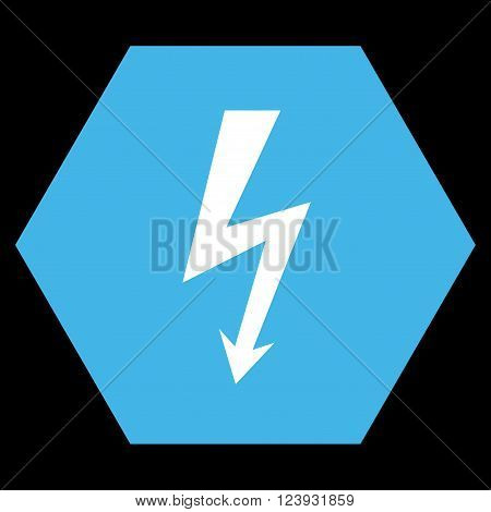 High Voltage vector icon symbol. Image style is bicolor flat high voltage pictogram symbol drawn on a hexagon with blue and white colors.