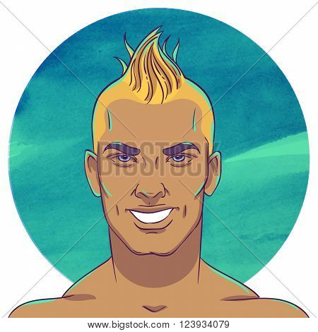 Smiling young tanned guy with a mohawk hairstyle on the background of the watercolor circle