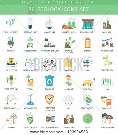 Vector Ecology color flat icon set. Elegant style design