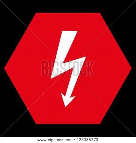 High Voltage vector icon symbol. Image style is bicolor flat high voltage icon symbol drawn on a hexagon with red and white colors.